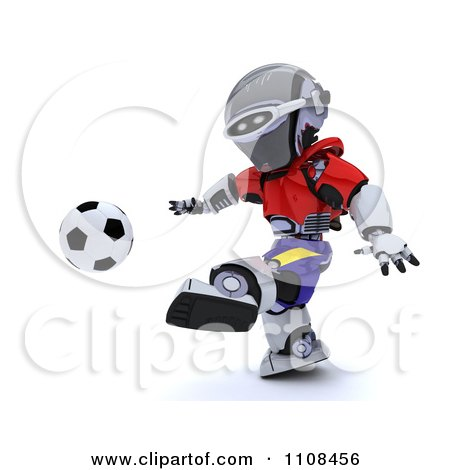 Clipart 3d Spanish Robot Playing Soccer - Royalty Free CGI Illustration by KJ Pargeter