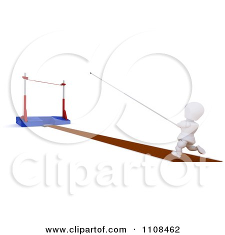 Clipart 3d White Character Pole Vault Track And Field Athlete 1 - Royalty Free CGI Illustration by KJ Pargeter