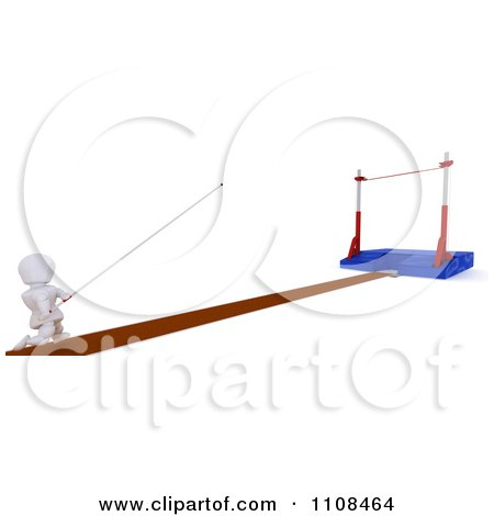 Clipart 3d White Character Pole Vault Track And Field Athlete 3 - Royalty Free CGI Illustration by KJ Pargeter