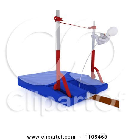 Clipart 3d White Character Pole Vault Track And Field Athlete 4 - Royalty Free CGI Illustration by KJ Pargeter