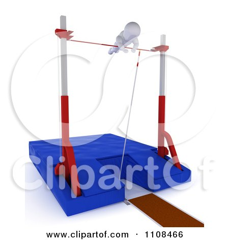 Clipart 3d White Character Pole Vault Track And Field Athlete 5 - Royalty Free CGI Illustration by KJ Pargeter