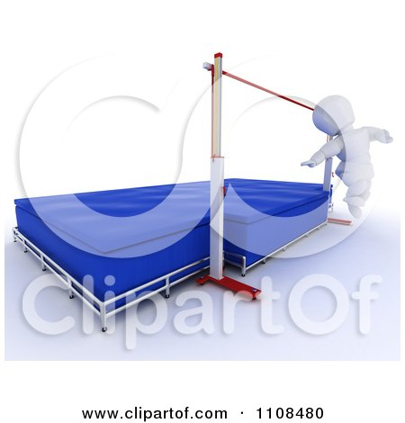 Clipart 3d White Character High Jumper Athlete 1 - Royalty Free CGI Illustration by KJ Pargeter