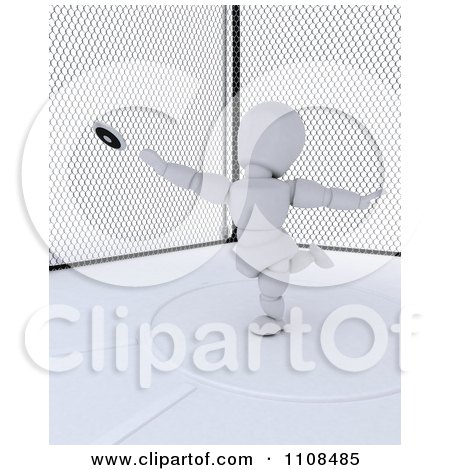 Clipart 3d White Character Discus Thrower In A Cage 2 - Royalty Free CGI Illustration by KJ Pargeter