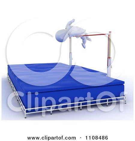 Clipart 3d White Character High Jumper Athlete 2 - Royalty Free CGI Illustration by KJ Pargeter
