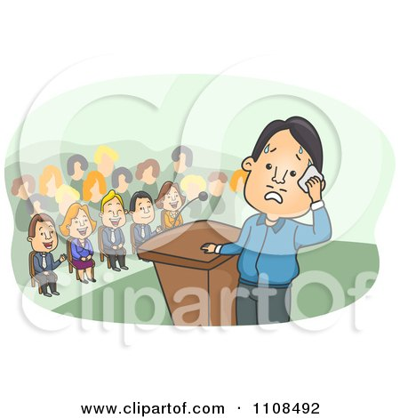 Clipart Nervous Man At A Podium Imagining People Laughing At Him - Royalty Free Vector Illustration by BNP Design Studio