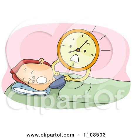 Clipart Stressed Alarm Clock Shaking A Sleeping Man - Royalty Free Vector Illustration by BNP Design Studio