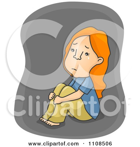 Clipart Depressed Girl Hugging Her Knees And Crying Over Gray - Royalty Free Vector Illustration by BNP Design Studio