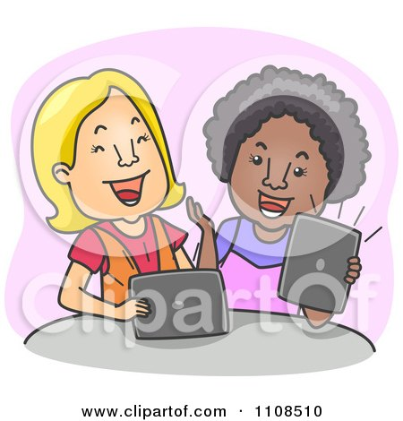 Two Women Laughing And Using Tablet Computers Over Purple Posters, Art Prints