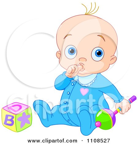 Clipart Baby Boy Sucking His Thumb And Playing With A Rattle And Toy Block - Royalty Free Vector Illustration by Pushkin