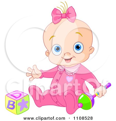 Clipart Happy Baby Girl In A Pink Sleeper With A Rattle And Toy Block - Royalty Free Vector Illustration by Pushkin