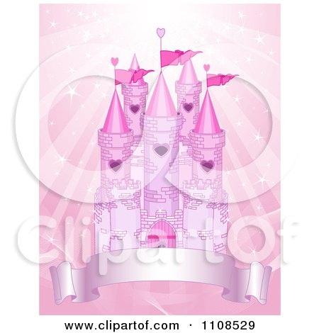 Clipart Pink Fairy Tale Castle With Turrets And A Banner Over Sparkling Rays - Royalty Free Vector Illustration by Pushkin