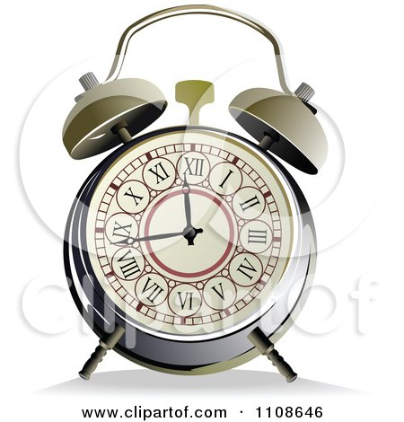 Clipart Vintage Alarm Clock With Roman Numerals - Royalty Free Vector Illustration by leonid
