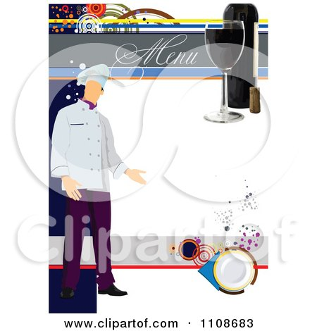 Royalty free rf clipart illustration of a blank menu for Chef portfolio template