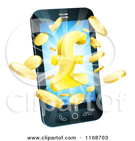 Clipart 3d Cell Phone With Gold Coins And A Pound Symbol Bursting From The Screen - Royalty Free Vector Illustration by AtStockIllustration