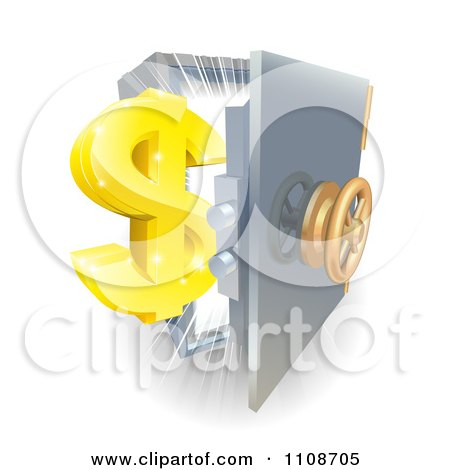 Clipart 3d Golden Dollar Symbol And An Open Safe With Light - Royalty Free Vector Illustration by AtStockIllustration