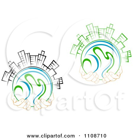 Clipart Pairs Of Hands Holding Globes Skyscrapers - Royalty Free Vector Illustration by Vector Tradition SM