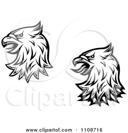 Black  White Flower Picture on Clipart Black And White Heraldic Eagle Heads   Royalty Free Vector