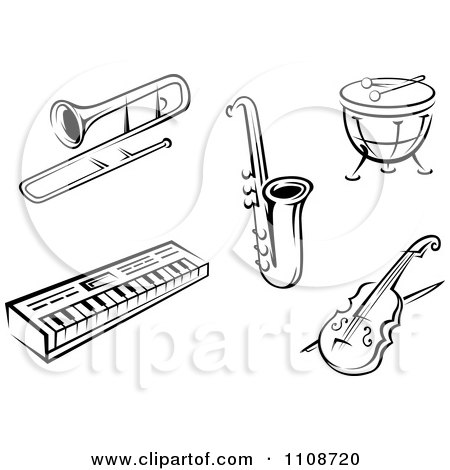 Clipart Black And White Musical Instruments 1 - Royalty Free Vector Illustration by Vector Tradition SM