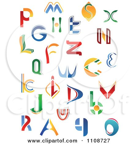 Clipart Abstract Colorful Letters A Through Z 4 - Royalty Free Vector Illustration by Vector Tradition SM
