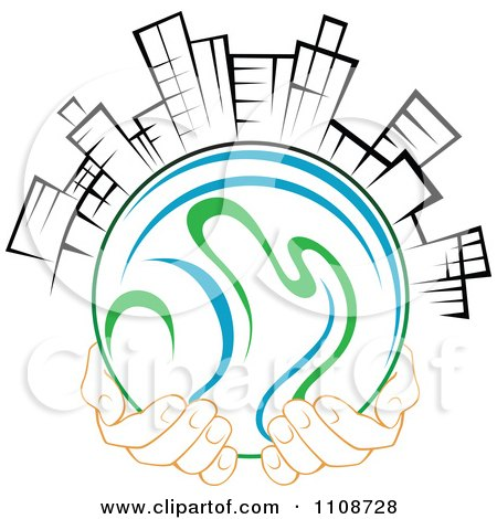 Clipart Pair Of Hands Holding A Globe With Black And White City Skyscrapers - Royalty Free Vector Illustration by Vector Tradition SM