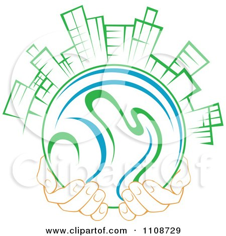 Clipart Pair Of Hands Holding A Globe With Green City Skyscrapers Royalty Free Vector Illustration