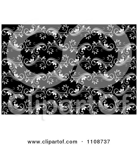 Flower Patterns on Clipart Seamless Blackand White Floral Swirl Background Pattern