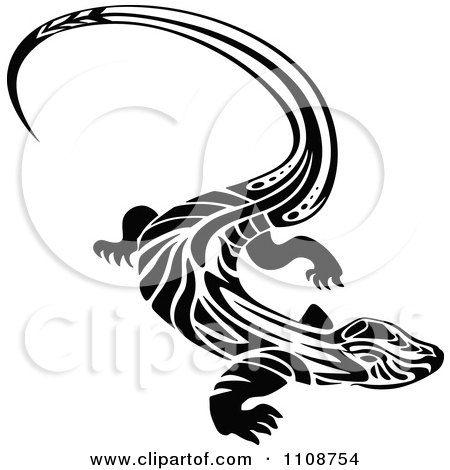 Clipart Black And White Tribal Lizard 1 - Royalty Free Vector Illustration by Vector Tradition SM