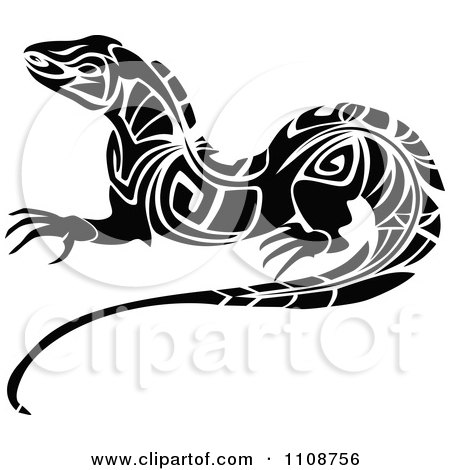 Clipart Black And White Tribal Lizard 3 - Royalty Free Vector Illustration by Vector Tradition SM