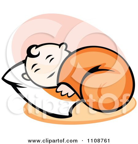 Clipart Happy Baby Sleeping On A Pillow - Royalty Free Vector Illustration by Vector Tradition SM