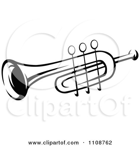Clipart Black And White Trumpet Musical Instrument - Royalty Free Vector Illustration by Vector Tradition SM