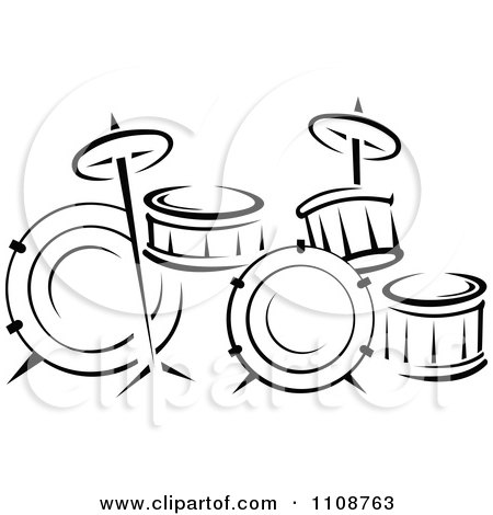 Clipart Black And White Drum Set Musical Instrument  - Royalty Free Vector Illustration by Vector Tradition SM