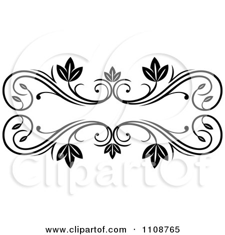 Clipart Black And White Leafy Floral Frame - Royalty Free Vector Illustration by Vector Tradition SM