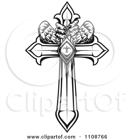 Clipart Black And White Heraldic Cross With Talons And Wings - Royalty Free Vector Illustration by Vector Tradition SM