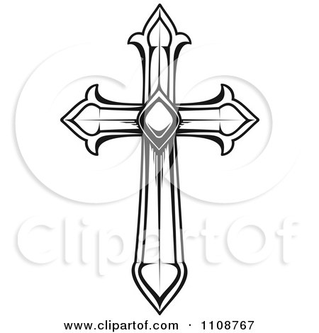 clipart black and white heraldic cross royalty free vector rh clipartof com Black and White Cross Tattoos Christian Cross Clip Art Black and White