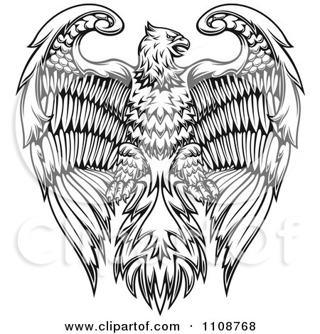 Clipart Black And White Heraldic Eagle Crest - Royalty Free Vector Illustration by Vector Tradition SM