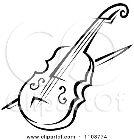 Clipart Black And White Violin Musical Instrument - Royalty Free Vector Illustration by Vector Tradition SM