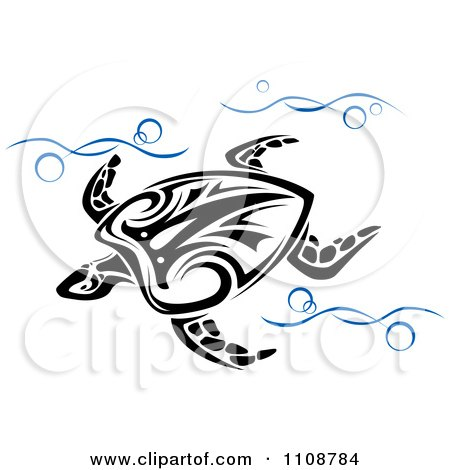 Clipart Swimming Tribal Sea Turtle In Blue Waves