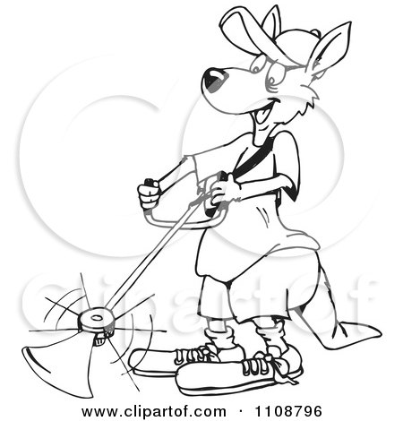 Clipart Black And White Outlined Kangaroo Using A Weed Eater - Royalty Free Vector Illustration by Dennis Holmes Designs