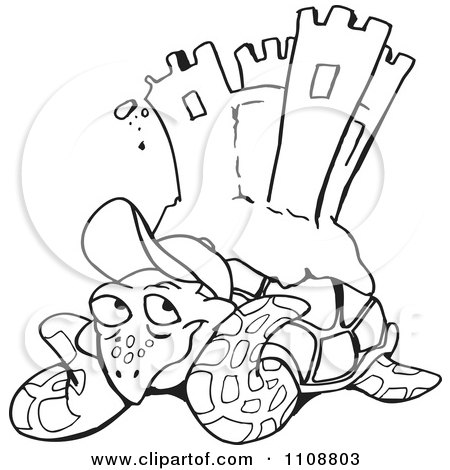 Clipart Black And White Outlined Sea Turtle With A Sand Castle On His Back - Royalty Free Vector Illustration by Dennis Holmes Designs