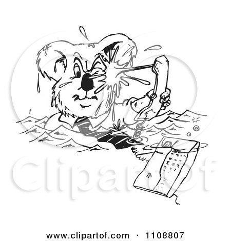Clipart Black And White Business Koala Drowning In Phone Calls  - Royalty Free Vector Illustration by Dennis Holmes Designs