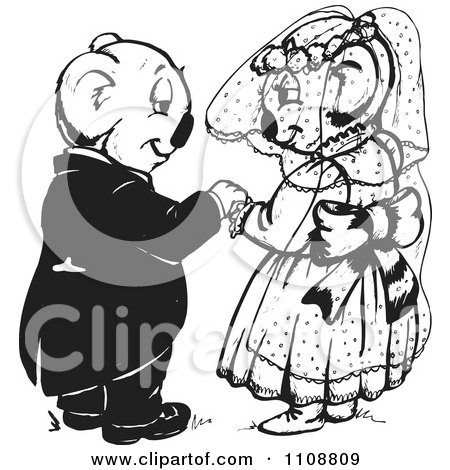 Clipart Black And White Koala Wedding Couple  - Royalty Free Vector Illustration by Dennis Holmes Designs