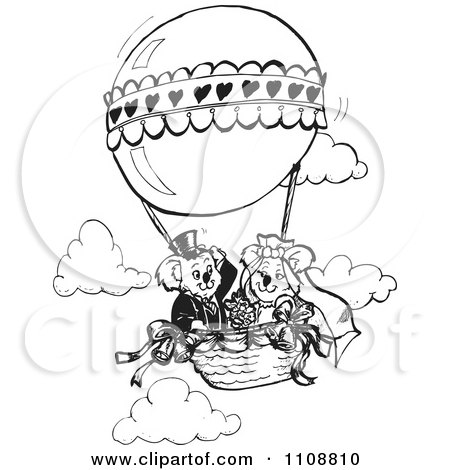 Clipart Black And White Koala Wedding Couple In A Hot Air Balloon - Royalty Free Vector Illustration by Dennis Holmes Designs