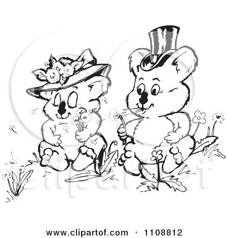 Clipart Black And White Koala Wedding Couple Blowing Dandelion Wishes - Royalty Free Vector Illustration by Dennis Holmes Designs