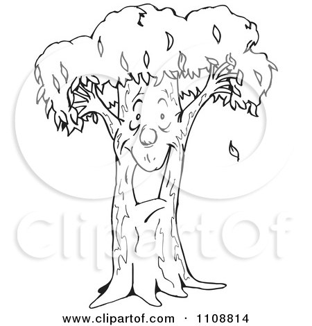 Clipart Illustration Of An Excited Tree Man Smiling By Dennis Holmes