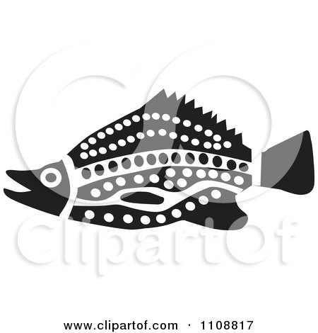 f8d3405e03046 Clipart Black And White Tribal Yellowbelly Fish - Royalty Free Vector  Illustration by Dennis Holmes Designs