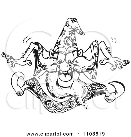 Clipart Black And White Outlined Crazy Wizard Jumping - Royalty Free Vector Illustration by Dennis Holmes Designs