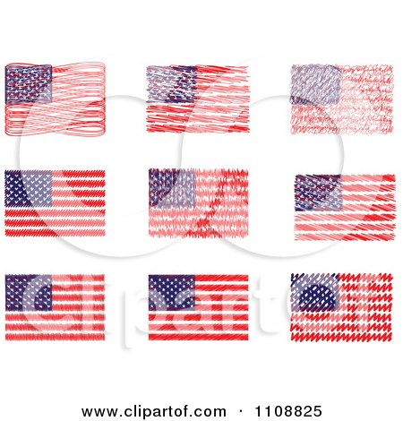 Clipart Scribbled American Flags - Royalty Free Vector Illustration by Andrei Marincas