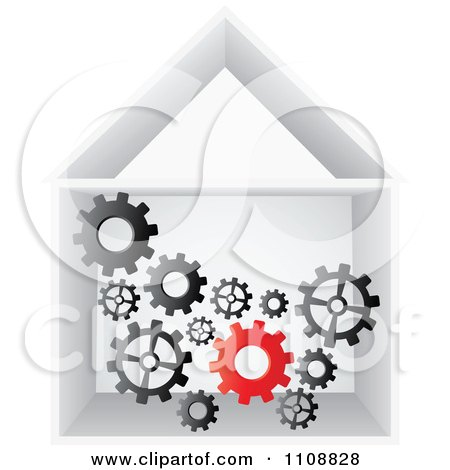 Clipart Factory Gears Working In A Building - Royalty Free Vector Illustration by Andrei Marincas