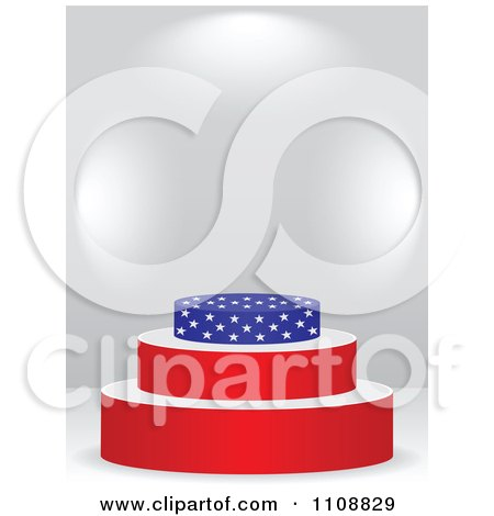 Clipart Patriotic American Flag Podium With Copyspace On Gray - Royalty Free Vector Illustration by Andrei Marincas