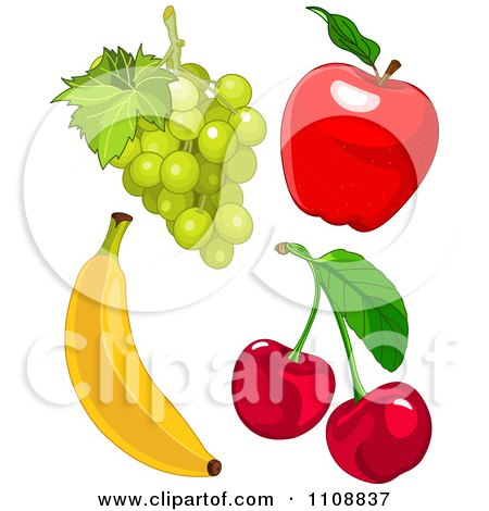 Clipart Bunch Of Green Grapes Red Apple Cherries And Banana - Royalty Free Vector Illustration by Pushkin